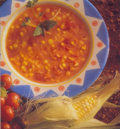 Tomatoes and corn Soup