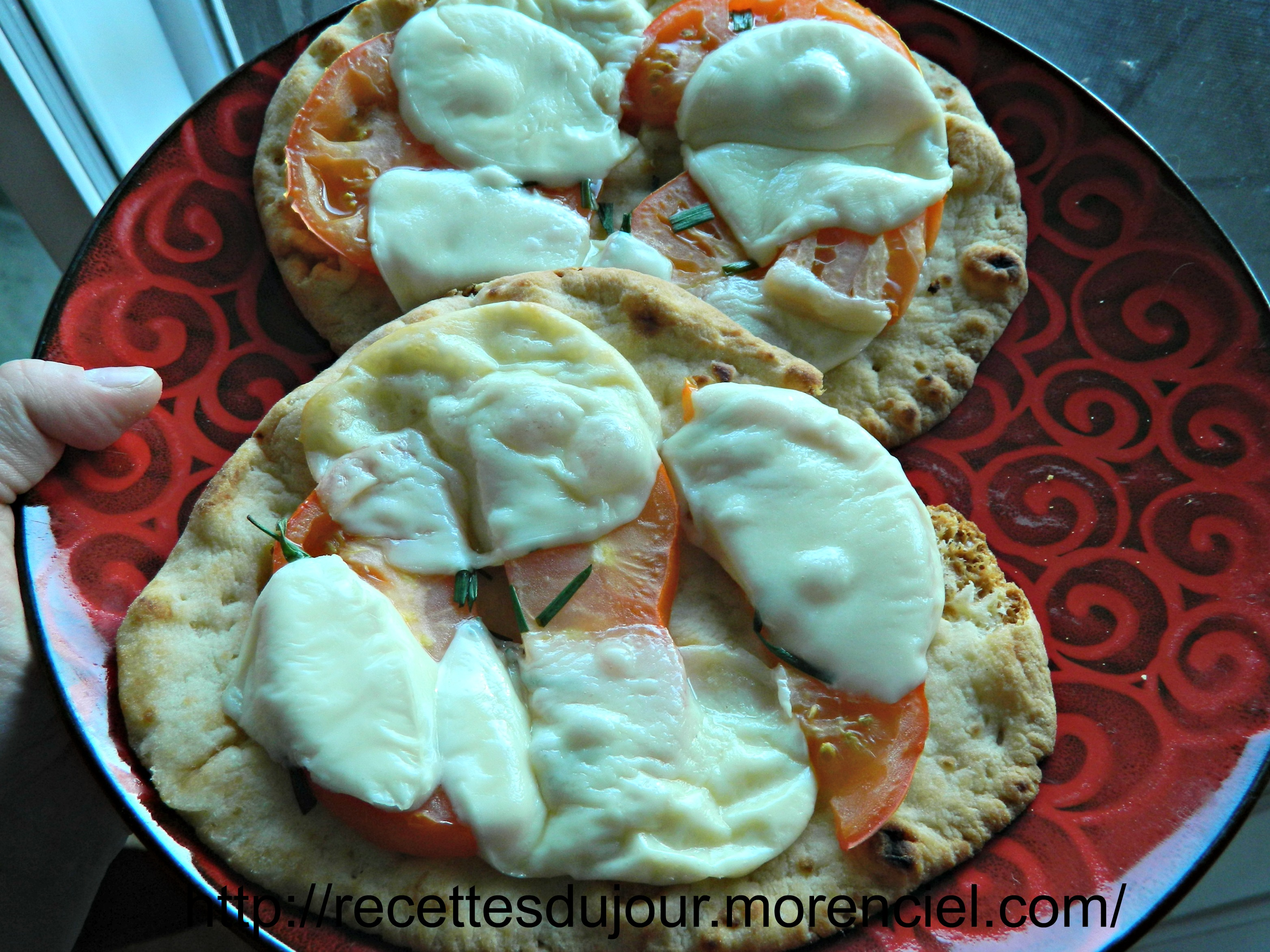 Quick grilled pizza margherita